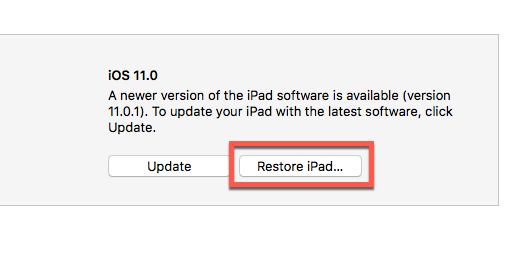 restore iPad option in iTunes