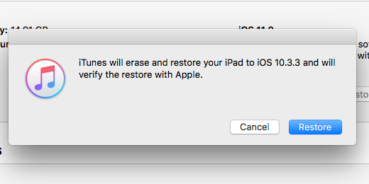 restore button in iTunes for iOS