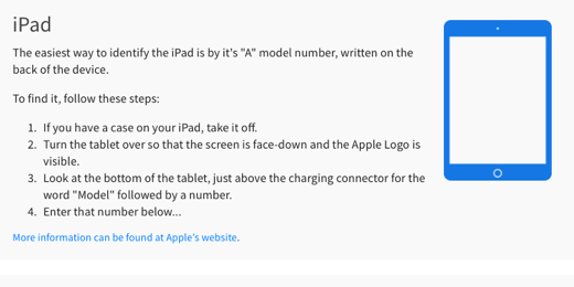 iPad device model number information