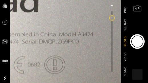 camera screen shot of iPad model number