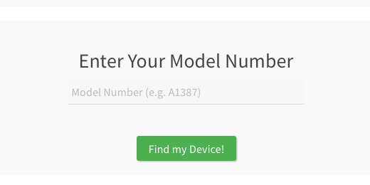enter iPad model number field search