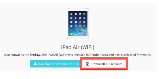 browse all iOS releases button