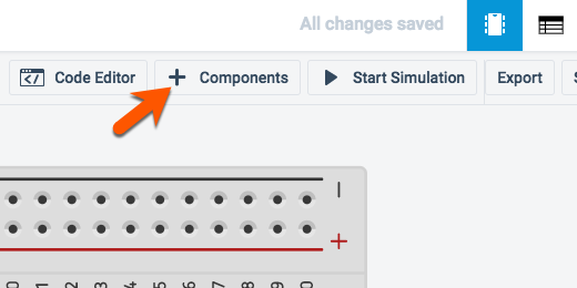 add components button in button bar