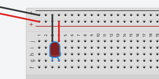 selected LED on breadboard