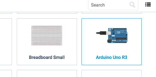 Arduino Uno R3 in components panel