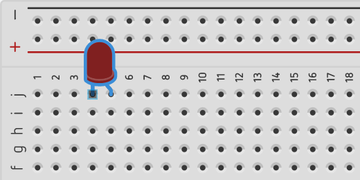 LED on breadboard in column J rows four and five