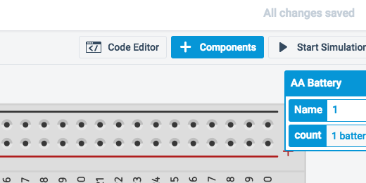 add component button in button bar