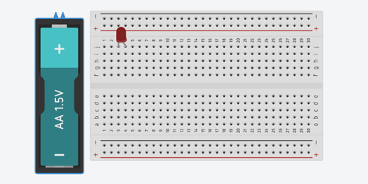 full view of battery and breadboard