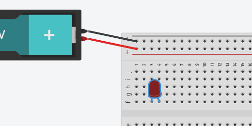 LED on breadboard in column F and rows 3 and 4