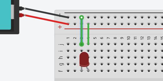 jumper wire from negative column to row three column J