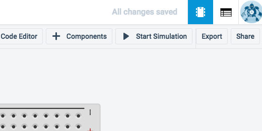 start simulation button in button bar