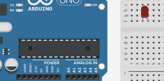 close-up view of microcontroller on Arduino board