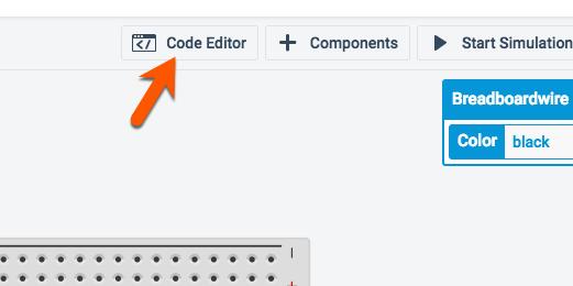code editor button in button bar