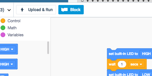 block code and icon in button bar