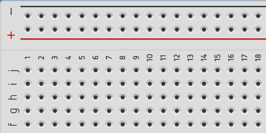 negative a positive columns on breadboard in Tinkercad