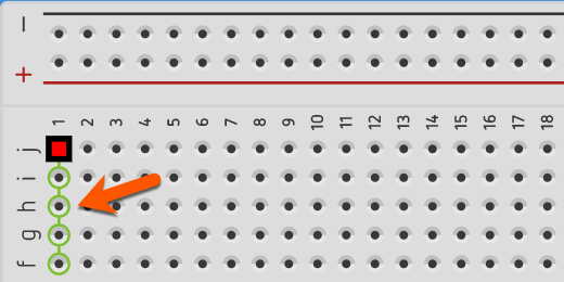 view of connection highlights on breadboard in rows for Tinkercad