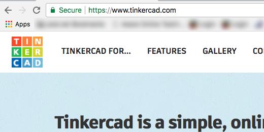 tinkercad web address in address bar
