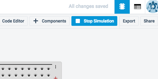 tinkercad stop simulation button
