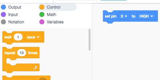set pin 3 to high code block