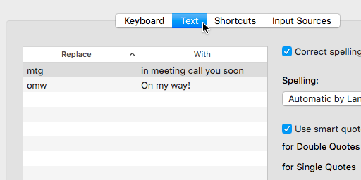 keyboard text tab option in system preferences