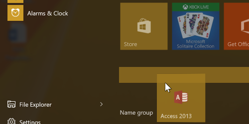 Microsoft application icon and new group bar