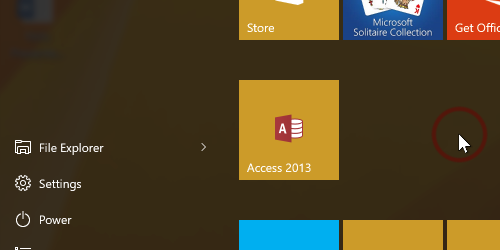 Microsoft Access tile in new group