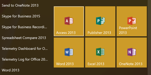 Microsoft Application tiles in new group