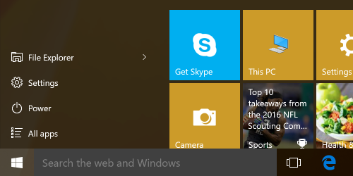 Windows Start panel